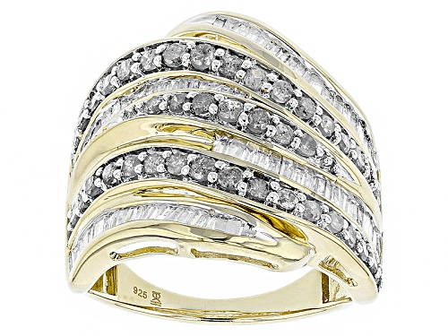 Pre-Owned Engild™ 1.50ctw Round And Baguette White Diamond 14k Yellow Gold Over Sterling Silver Ring - Size 6