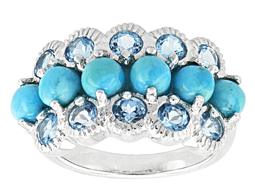 Photo of Pre-Owned 4mm Round Cabochon Turquoise And 1.44ctw Round Swiss Blue Topaz Sterling Silver Ring - Size 5