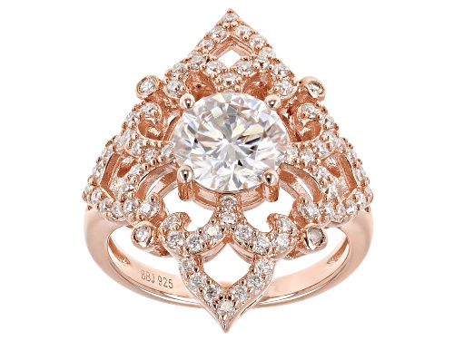 Photo of Pre-Owned MOISSANITE FIRE® 2.62CTW DEW ROUND 14K ROSE GOLD OVER STERLING SILVER RING - Size 7