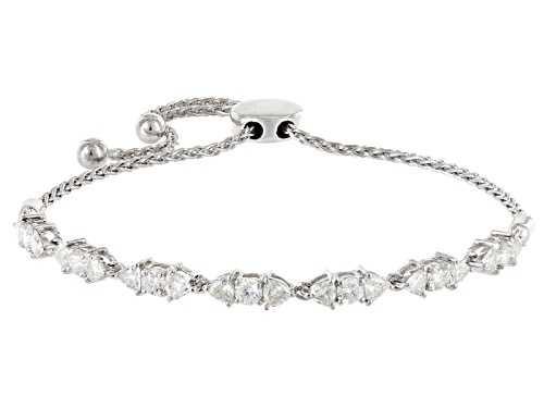 Photo of Pre-Owned Moissanite Fire® 1.96ctw Dew Trillion Cut And Round Platineve ™ Adjustable Bracelet