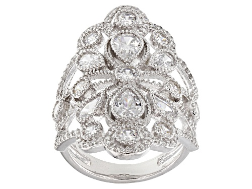 Photo of Pre-Owned Bella Luce® 5.70ctw Rhodium Over Sterling Silver Ring (3.34ctw DEW) - Size 6