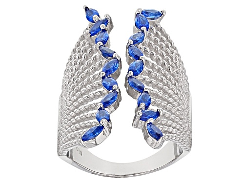 Photo of Pre-Owned Bella Luce ® 2.70ctw Blue Sapphire Simulant Rhodium Over Sterling Silver Ring - Size 5