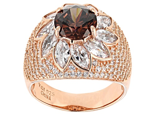 Photo of Pre-Owned Bella Luce® 8.49ctw Mocha and White Diamond Simulants Eterno™ Rose Ring - Size 5