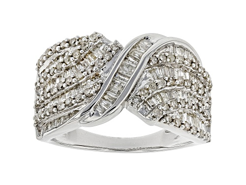 Photo of Pre-Owned 1.33ctw Baguette And Round Diamond Rhodium Over Sterling Silver Ring - Size 7