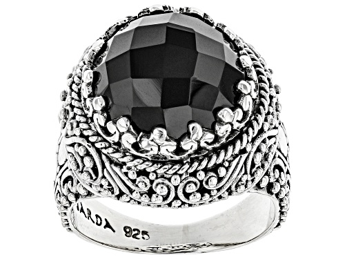 Photo of Pre-Owned Artisan Collection Of Bali™ 7.23ct Round, Checkerboard Cut Black Spinel Silver Solitaire R - Size 6