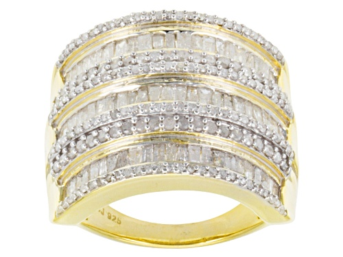 Photo of Pre-Owned 2.00ctw Baguette, & Round Diamond 14k Yellow Gold Over Sterling Silver Wide Band - Size 5