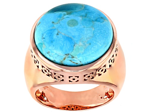 Photo of Pre-Owned Timna Jewelry Collection™ 18mm Round Cabochon Turquoise Copper Solitaire Ring - Size 8