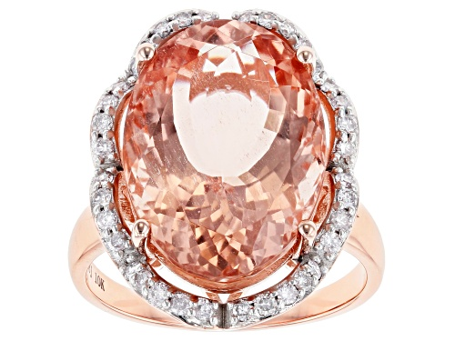Photo of Pre-Owned 10K 11.30CT OV MORGANITE /.41CTW RD WHT DIA RG /SZ 8 /NOT SZBL /RHOD PLTD - Size 8