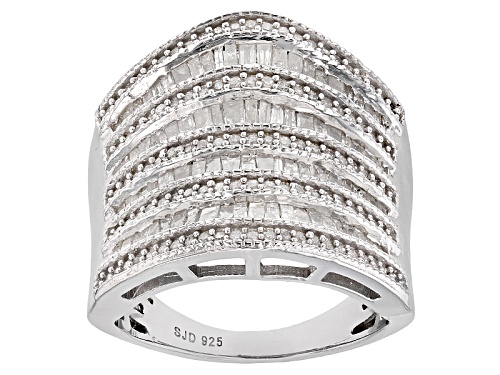 Photo of Pre-Owned 1.55ctw Round And Baguette White Diamond Rhodium Over Sterling Silver Ring - Size 7