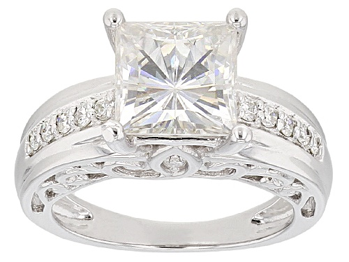 Photo of Pre-Owned Moissanite Fire® 3.34ctw Diamond Equivalent Weight Square Brilliant And Round Platineve™ R - Size 7