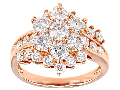 Photo of Pre-Owned Moissanite Fire® 2.91ctw Dew Round 14k Rose Gold Over Silver Ring - Size 6