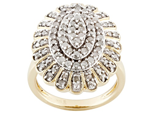 Pre-Owned 1.25ctw Round White Diamond Engild™ 14k Yellow Gold Over Sterling Silver Cluster Ring - Size 7