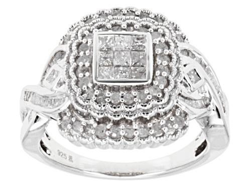 Photo of Pre-Owned 1.00ctw Round, Baguette & Princess Cut Diamond Rhodium Over Sterling Silver Ring - Size 7