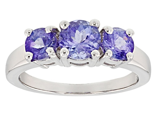 Photo of Pre-Owned 1.65ctw Round Tanzanite Rhodium Over Sterling Silver 3-Stone Ring - Size 8