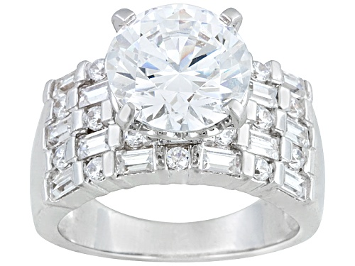 Photo of Pre-Owned Bella Luce® Dillenium 8.40ctw Rhodium Over Sterling Silver Ring (5.58ctw Dew) - Size 10