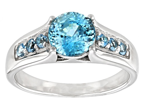 Photo of Pre-Owned 1.44ct Blue Zircon with .19ctw Swiss Blue Topaz Rhodium Over Sterling Silver Ring - Size 9