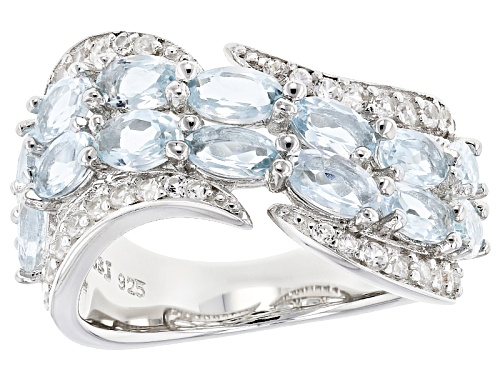 Photo of Pre-Owned 2.38ctw Oval Aquamarine With .62ctw Round White Zircon Sterling Silver Band Ring - Size 8