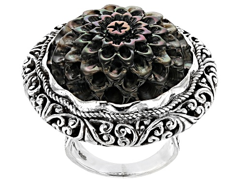 Photo of Pre-Owned Artisan Collection Of Bali™ Carved Black Mother Of Pearl Flower Sterling Silver Solitaire - Size 7