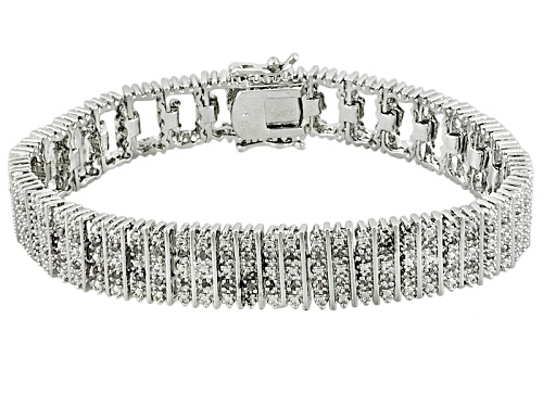 Photo of Pre-Owned Emulous™ 1.00ctw Round White Diamond Rhodium Over Brass Bracelet - Size 7