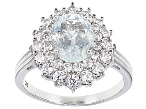 Photo of Pre-Owned 2.15CT OVAL BRAZILIAN AQUAMARINE WITH 2.35CTW ROUND WHITE ZIRCON RHODIUM OVER SILVER RING - Size 7