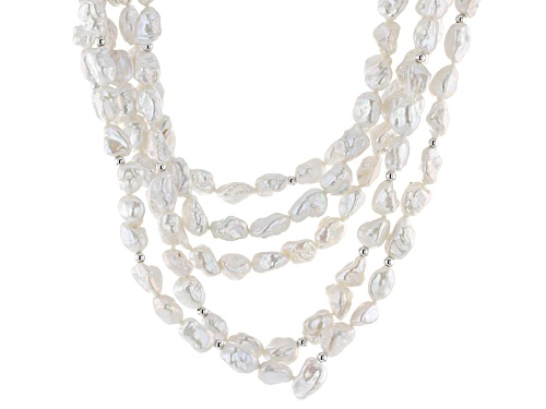 Photo of Pre-Owned 3-10mm White Cultured Freshwater Pearl Rhodium Over Silver 18 Inch Multi-Strand Necklace - Size 18