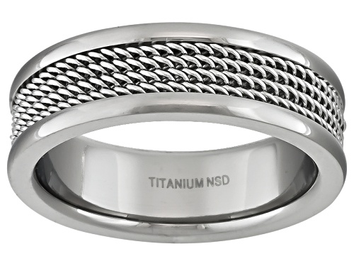 Photo of Pre-Owned 6mm Polished Titanium With Wire Mesh Center Inlay Comfort Fit Men's Band - Size 6