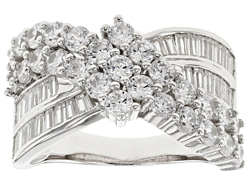 Photo of Pre-Owned Bella Luce® 4.90ctw Rhodium Over Sterling Silver Ring - Size 7