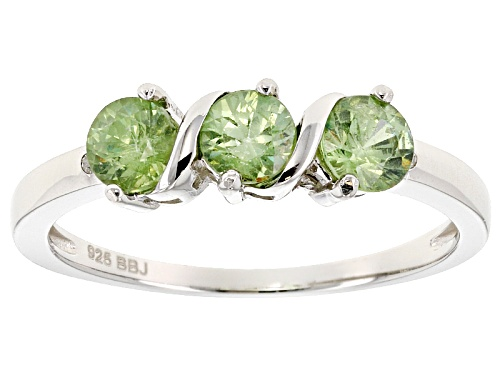 Photo of Pre-Owned .69ctw Round Demantoid Garnet And .01ctw Round 2 White Diamond Accent 3-Stone Silver Ring - Size 8