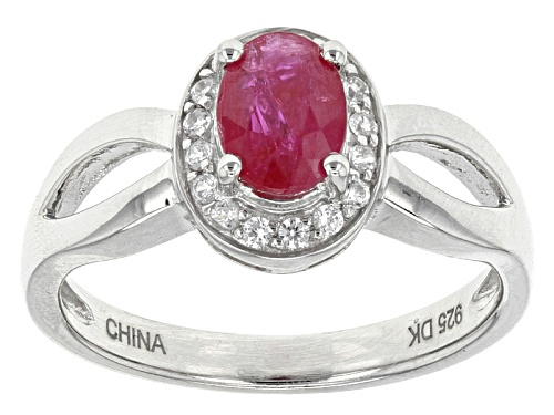 Photo of Pre-Owned .64ct Oval Mahaleo® Ruby With .15ctw Round White Zircon Sterling Silver Ring - Size 8
