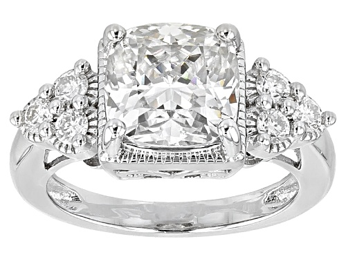Photo of Pre-Owned Moissanite Fire® 3.66ctw Dew Cushion Cut And Round Platineve™ Ring - Size 8