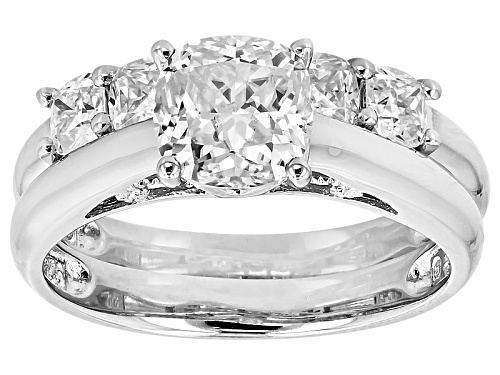 Photo of Pre-Owned Moissanite Fire® 3.65ctw Dew Square Cushion Cut  Platineve™ Ring With Band - Size 7