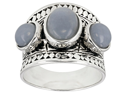 Photo of Pre-Owned 9X7mm oval and 6mm round angelite rhodium over sterling silver 3-stone band ring - Size 10