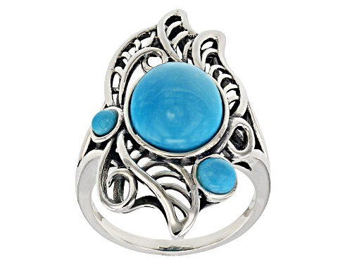 Photo of Pre-Owned Southwest Style by JTV™ oval and round Sleeping Beauty turquoise rhodium over sterling sil - Size 6