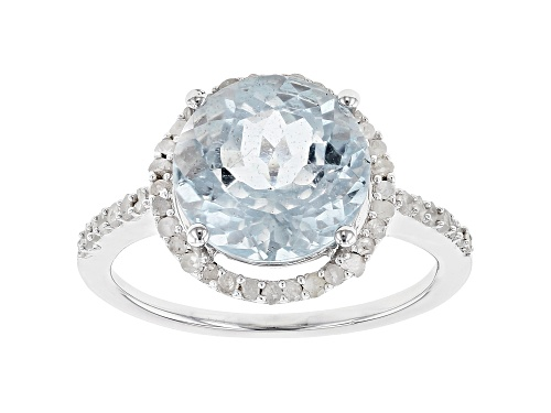 Photo of Pre-Owned 3.50CTW ROUND AQUAMARINE WITH .14CTW ROUND WHITE DIAMOND RHODIUM OVER SILVER HALO RING - Size 10