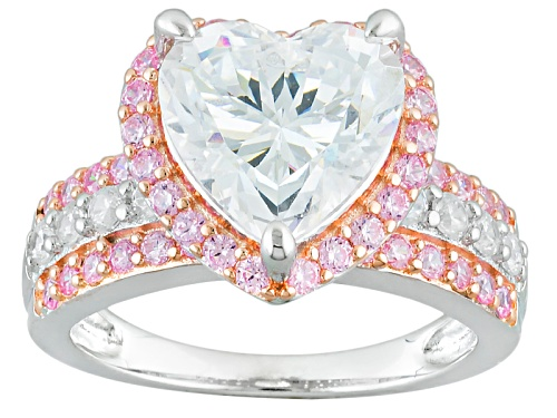 Photo of Pre-Owned Bella Luce ® 6.87ctw Pink & White Diamond Simulants Rhodium & 18k Rose Gold Over Sterling - Size 11