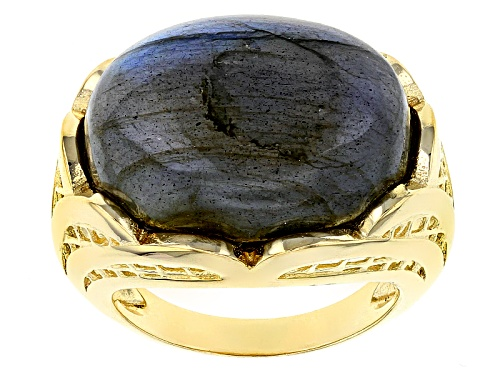 Photo of Pre-Owned Moda Al Massimo® 18k Yellow Gold Over Bronze Oval Labradorite Signet Ring - Size 8