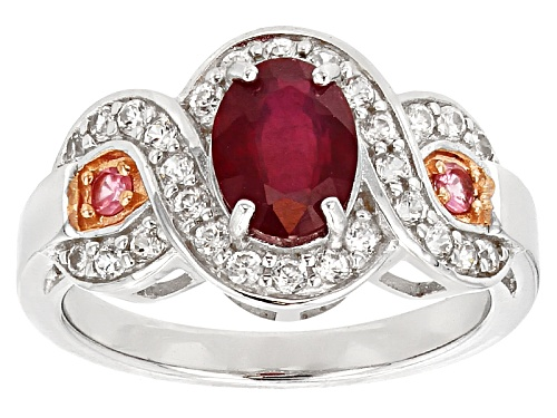 Photo of Pre-Owned 3.27ct Oval Mahaleo® Ruby With .64ctw White Zircon And .07ct Pink Spinel Sterling Silver R - Size 5