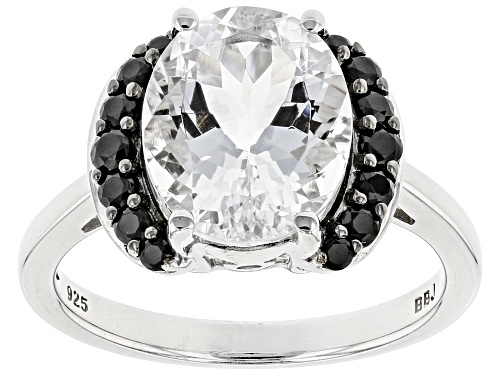 Photo of Pre-Owned 2.72ct Oval Brazilian Goshenite With .29ctw Round Black Spinel Sterling Silver Ring - Size 11