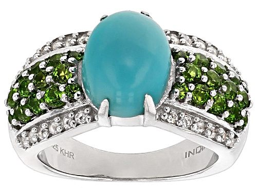 Photo of Pre-Owned 10x8mm Oval Turquoise, 1.20ctw Grape Color Garnet And .24ctw White Topaz Sterling Silver R - Size 7