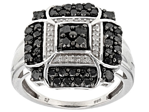 Photo of Pre-Owned 1.00ctw Round Black and White Diamond Rhodium over Sterling Silver Ring - Size 6