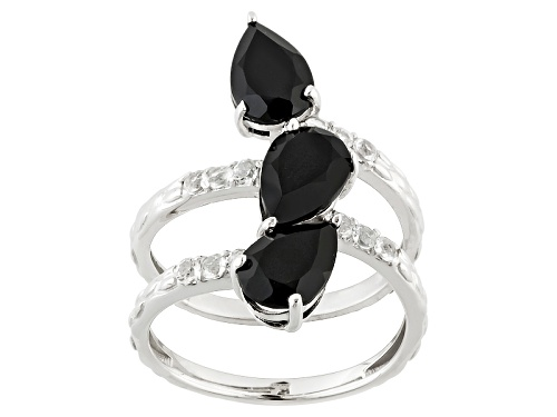 Photo of Pre-Owned  Pear Shape Black Onyx With .36ctw Oval White Topaz Sterling Silver Ring - Size 6