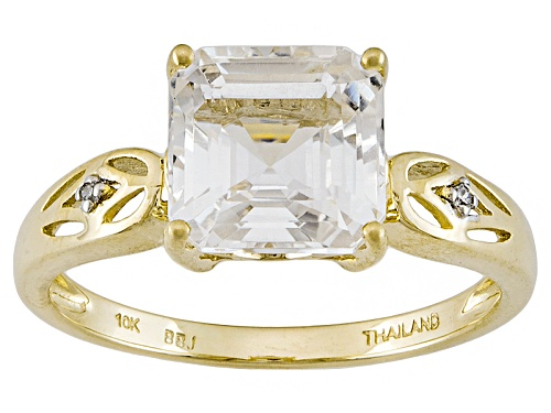Photo of Pre-Owned 2.20ct Asscher Cut Danburite And .01ctw Round White Two Diamond Accent 10k Gold Ring - Size 11
