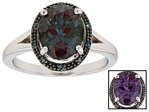 Photo of Pre-Owned 2.63ct Lab Created Alexandrite with .02ctw Blue Diamond Accent Rhodium Over Sterling Silve - Size 9