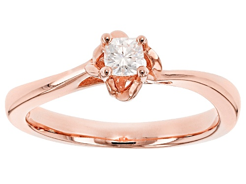 Photo of Pre-Owned Moissanite Fire® .16ct Dew Cushion Cut 14k Rose Gold Over Silver Ring - Size 11