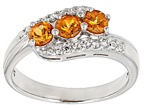 Photo of Pre-Owned .79ctw Round Spessartite With .09ctw Round White Zircon Sterling Silver 3-Stone Ring - Size 9