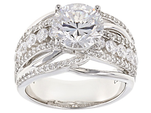 Photo of Pre-Owned Bella Luce® Dillenium Cut 6.21ctw Diamond Simulant Rhodium Over Sterling Silver Ring (3.71 - Size 8