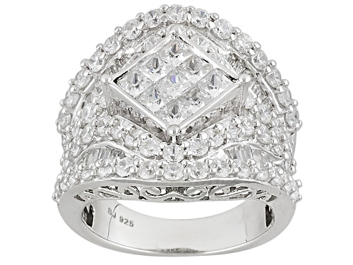 Photo of Pre-Owned Bella Luce ® 6.53ctw Diamond Simulant Rhodium Over Sterling Silver Ring (3.71ctw Dew) - Size 5