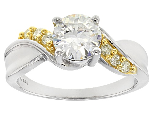 Photo of Pre-Owned Moissanite Fire® 1.90ctw Dew With .22ctw Natural Yellow Dia Platineve™ Ring With 14k Yg Ac - Size 7