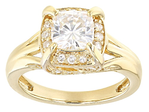 Photo of Pre-Owned Moissanite Fire® 1.82ctw Diamond Equivalent Weight Round 14k Yellow Gold Over Silver Ring - Size 7