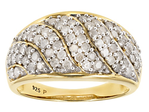 Photo of Pre-Owned 1.05ctw Round White Diamond 14K Yellow Gold over Sterling Silver Ring - Size 5
